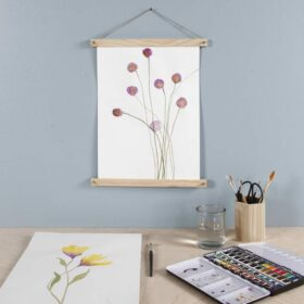 Bilder mit Blumen, Pinsel und ein Farbkasten